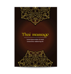Thai massage banner with golden floral mandalas vector