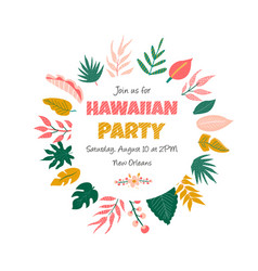 trendy summer tropical banner for aloha party vector image