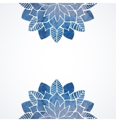 Watercolor floral blue pattern on white background vector