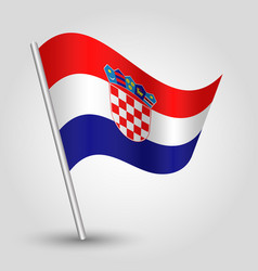 Waving simple triangle croatian flag vector
