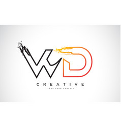 wd creative modern logo design with orange and vector image