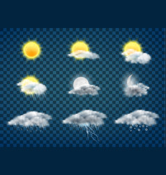 Weather forecast icons realistic set vector