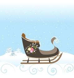 Winter Sled Flowers Vintage Snow Snowflake vector image