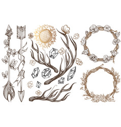 arrows and flowers a set of elements in the style vector image