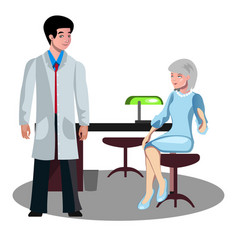 doctor talking with elderly patient vector image vector image