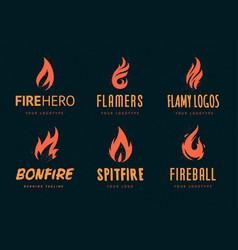 fire logos vector image vector image