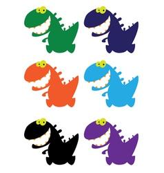little smile dino color vector image