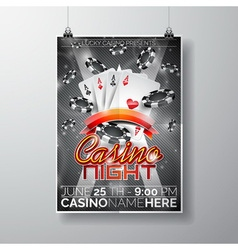Party Flyer design on a Casino theme with cards vector image vector image