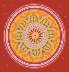 Red floral mandala with love message vector image vector image