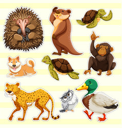 sticker design for wild animals on yellow vector image