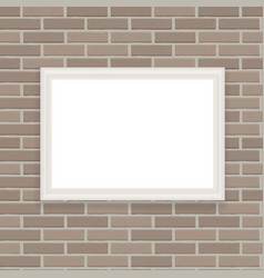 white frame on brick wall vector image