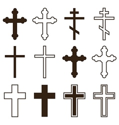 Big set of christian orthodoxy crosses vector image