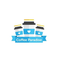 flat coffee shop or cafe logo vector image
