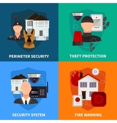 Home security 2x2 design concept set vector