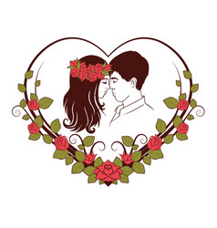 silhouette of loving couple vector image vector image