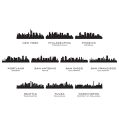 Silhouettes of the USA cities 3 vector image vector image