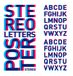 stereo letters alphabet stereoscopic poster vector image