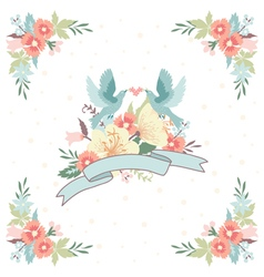wedding invitation with ribbon flowers and birds vector image