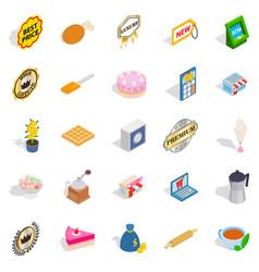 caff icons set isometric style vector image