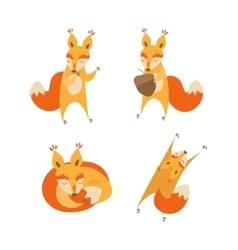 Cartoon Cute Squirrel Animal Set vector image vector image