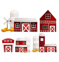 different designs of barns and silo vector image