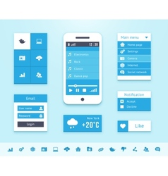 Mobile OS UI interface elements vector image