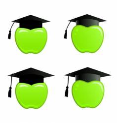 apple in graduation cap vector image