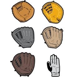 Assorted Baseball Gloves vector image vector image