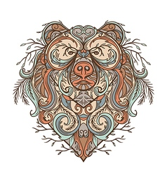 bear with abstract floral ornament vector image vector image