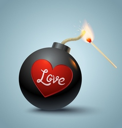 Bomb global and heart vector image vector image