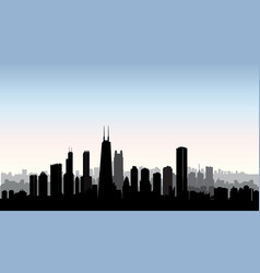chicago city buildings silhouette usa urban vector image vector image