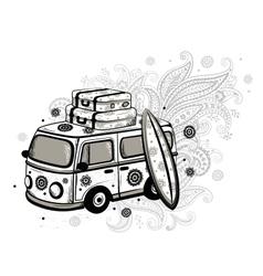 Retro Travel bus vector image