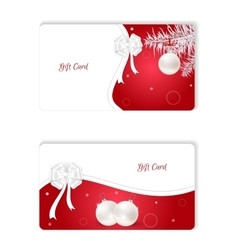 Set of two horizontal white Christmas gift card vector image