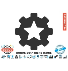 Star Favorites Options Gear Flat Icon With 2017 vector image