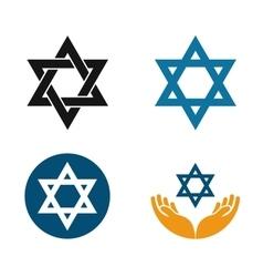 Star of david logo judaism or jewish set vector