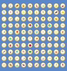100 holidays icons set cartoon vector image