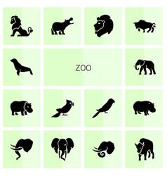 14 zoo icons vector