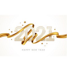 2021 new year logo with golden paint brushstroke vector image