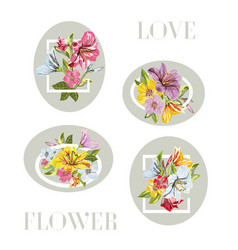 a collection frame of flower vector image