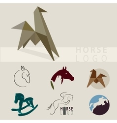 a lot of logos depicting horses vector image