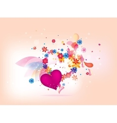 abstract floral heart background for valentines da vector image