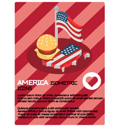 america color isometric poster vector image