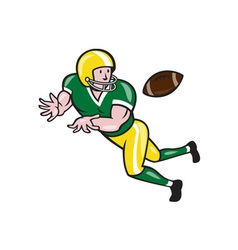 American Football Wide Receiver Catch Ball Cartoon vector image