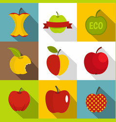 apple icons set flat style vector image