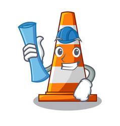 architect traffic cone on made in cartoon vector image