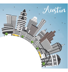 Austin skyline with gray buildings blue sky and vector