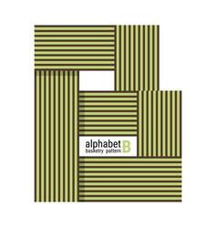 B - unique alphabet design with basketry pattern vector