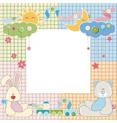 Baby frame or card with rabbit and bear vector image