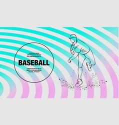 baseball pitcher throws ball outline vector image