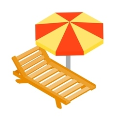 Beach chaise lounge with umbrella icon vector image